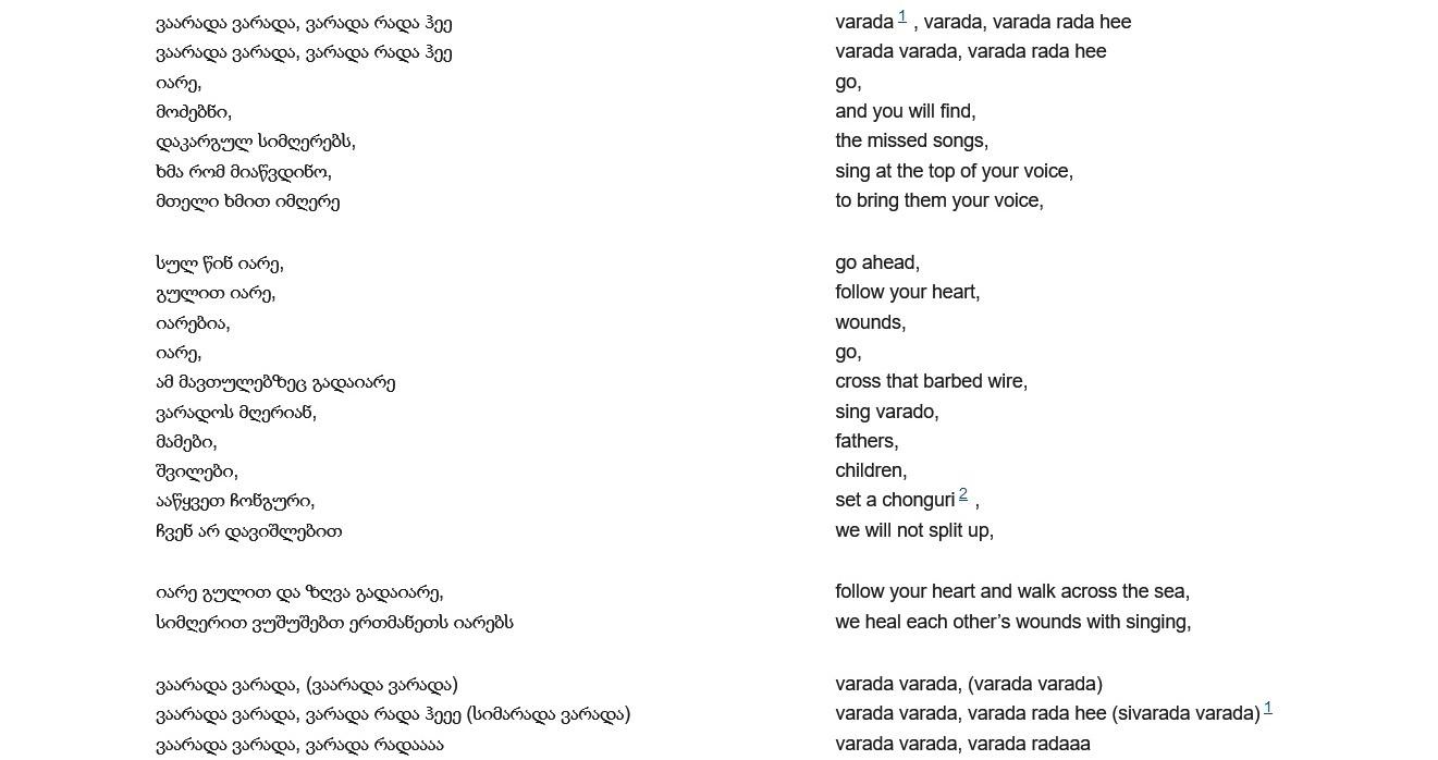 Screenshot des georgischen Textes