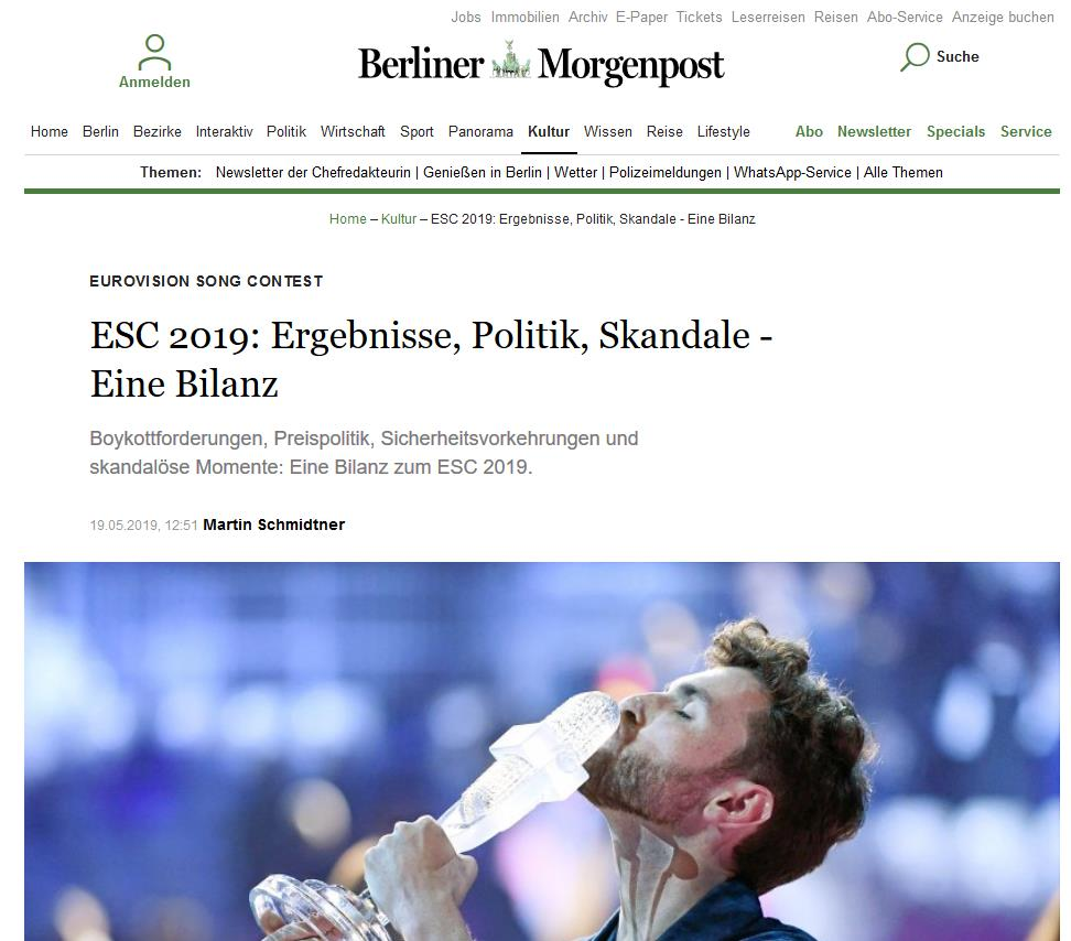 Screenshot Berliner Morgenpost Online vom 20.5.2019