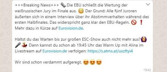 Screenshot eurovision.de-WhatsApp-Kanal vom 18.5.2019, 18:42 h MESZ